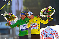 18th July 2021; Paris, France;  CAVENDISH Mark (GBR) of DECEUNINCK - QUICK-STEP and POGACAR Tadej (SLO) of UAE TEAM EMIRATES during stage 21 of the 108th edition of the 2021 Tour de France cycling race, the stage of 108,4 kms between Chatou and finish at the Champs Elysees in Paris.