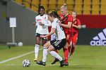 v.li.: Lena Sophie Oberdorf (Deutschland, 6) und Ella Van Kerkhoven (Belgien, 3) im Dreikampf, Zweikampf, Duell, Dynamik, Aktion, Action, Spielszene, DIE DFB-RICHTLINIEN UNTERSAGEN JEGLICHE NUTZUNG VON FOTOS ALS SEQUENZBILDER UND/ODER VIDEOÄHNLICHE FOTOSTRECKEN. DFB REGULATIONS PROHIBIT ANY USE OF PHOTOGRAPHS AS IMAGE SEQUENCES AN/OR QUASI-VIDEO., 21.02.2021, Aachen (Deutschland), Fussball, Länderspiel Frauen, Deutschland - Belgien <br /> <br /> Foto © PIX-Sportfotos *** Foto ist honorarpflichtig! *** Auf Anfrage in hoeherer Qualitaet/Aufloesung. Belegexemplar erbeten. Veroeffentlichung ausschliesslich fuer journalistisch-publizistische Zwecke. For editorial use only.