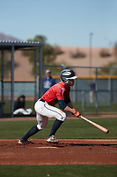 Sean Lee (1) of Chatham High School in Chatham, New Jersey during the Baseball Factory All-America Pre-Season Tournament, powered by Under Armour, on January 14, 2018 at Sloan Park Complex in Mesa, Arizona.  (Freek Bouw/Four Seam Images)