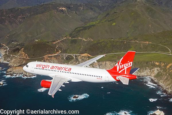 aerial photograph of N628VA, Virgin America Airlines Airbus A320-214, Monterey county Pacific coastline, California