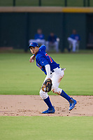 AZL Cubs shortstop Fidel Mejia (76) makes a throw to first base against the AZL Rangers on July 24, 2017 at Sloan Park in Mesa, Arizona. AZL Cubs defeated the AZL Rangers 2-1. (Zachary Lucy/Four Seam Images)