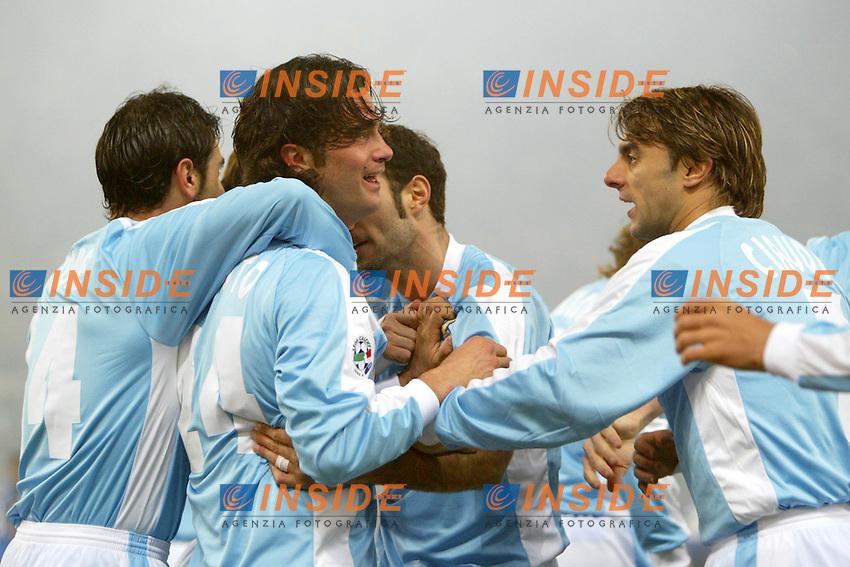 Roma 14/2/2004 <br /> Lazio Empoli 3-0  <br /> Fernando Couto (Lazio) festeggiato dai compagni dopo il gol dell'1-0<br /> Foto Andrea Staccioli Insidefoto