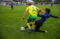 Haris Zeb tackles Harry Bark during the Central League football match between Miramar Rangers and Lower Hutt AFC at David Farrington Park in Wellington, New Zealand on Saturday, 10 April 2021. Photo: Dave Lintott / lintottphoto.co.nz