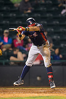 Juan Yepez (2) of the Rome Braves jumps away from an inside pitch during the game against the Hickory Crawdads at L.P. Frans Stadium on May 12, 2016 in Hickory, North Carolina.  The Braves defeated the Crawdads 3-0.  (Brian Westerholt/Four Seam Images)