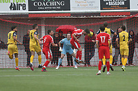Bradley Sach of Bowers scores the first goal for his team during Bowers & Pitsea vs Hornchurch, Emirates FA Cup Football at The Len Salmon Stadium on 2nd October 2021
