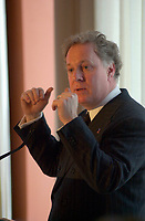 January 31 2003, Montreal, Quebec, Canada<br /> <br /> Jean Charest, Leader of  Quebec Liberal Party during  a speech , January 31 2003 in Montreal, Canada.<br /> <br /> Quebec Provincial elections will be held April 14, 2003<br /> Mandatory Credit: Photo by Pierre Roussel- Images Distribution. (©) Copyright 2003 by Pierre Roussel