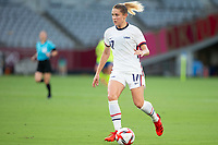 TOKYO, JAPAN - JULY 21: Abby Dahlkemper #17 of the United States on the ball during a game between Sweden and USWNT at Tokyo Stadium on July 21, 2021 in Tokyo, Japan.