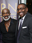 """BeBe Winans and Ron Gillyard backstage after a Song preview performance of the Bebe Winans Broadway Bound Musical """"Born For This"""" at Feinstein's 54 Below on November 5, 2018 in New York City."""