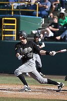 Zack Zehner #42 of the Cal Poly Mustangs bats against the UCLA Bruins at Jackie Robinson Stadium on February 22, 2014 in Los Angeles, California. Cal Poly defeated UCLA, 8-0. (Larry Goren/Four Seam Images)
