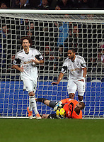 Wednesday, 01 January 2014<br /> Pictured: (L-R) Jose Alberto Canas, Gerhard Tremmel, Ashley Williams.<br /> Re: Barclay's Premier League, Swansea City FC v Manchester City at the Liberty Stadium, south Wales.