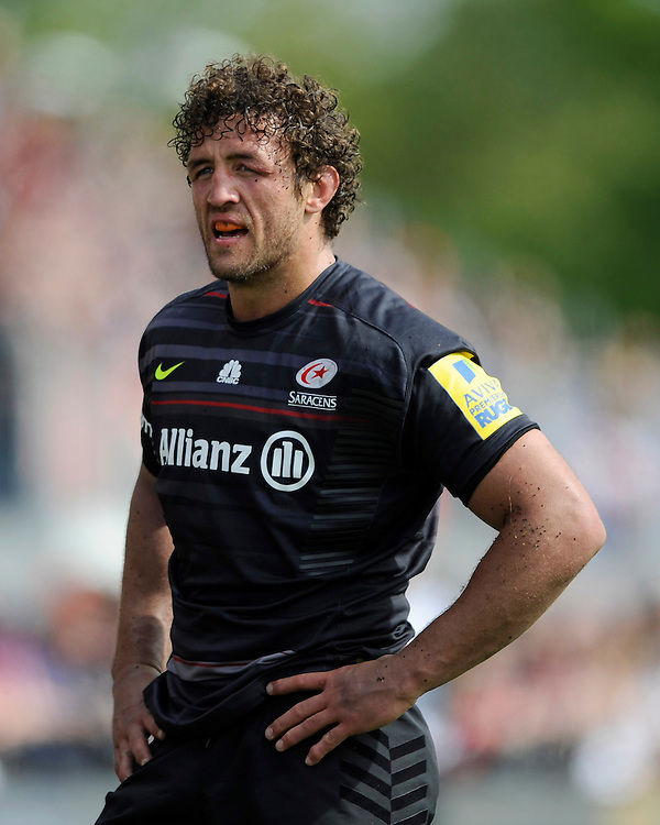 Jacques Burger of Saracens looks dejected after losing a hard fought match against Exeter Chiefs