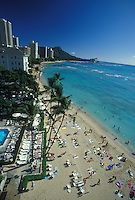 Overview of Waikiki Beach, Sheraton Moana Surfrider Hotel and pool, palm trees, Diamond Head