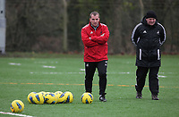 FAO SPORTS PICTURE DESK<br /> Pictured: Manager Brendan Rodgers (L). Thursday 12 January 2012<br /> Re: Premier League football side Swansea City FC training session at Llandarcy, south Wales.
