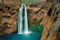 Mooney Falls and Havasu Creek<br /> Havasu Canyon<br /> Havasupai Indian Reservation<br /> Colorado Plateau,  Arizona