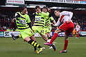 Luke Freeman of Stevenage's shot is blocked by Kevin Dawson of Yeovil. Stevenage v Yeovil Town- npower League 1 -  Lamex Stadium, Stevenage - 13th April, 2013. © Kevin Coleman 2013.. . . . .. . . .  . . .  .