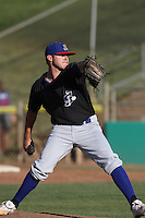 Ryan Doolittle #27 of the Stockton Ports pitches against the High Desert Mavericks at Stater Bros. Stadium on May 27, 2012 in Adelanto,California. High Desert defeated Stockton 6-5.(Larry Goren/Four Seam Images)