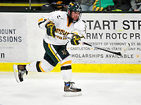 6 November 2009: University of Vermont Catamount forward Justin Milo, a Junior from Edina, MN, in third period action against the University of Massachusetts Lowell River Hawks at Gutterson Fieldhouse in Burlington, Vermont. The Hockey East rivals battled to a 3-3 tie. Mandatory Credit: Ed Wolfstein Photo
