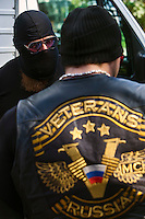 Moscow, Russia, 19/08/2012..Members of the Russian Veterans Motorcycle Club at a Russian opposition rally. Several hundred opposition demonstrators gathered near the Russian government White House to mark the 21st anniversary of the attempted coup in 1991 by Communist hardliners that led to the eventual break-up of the Soviet Union.