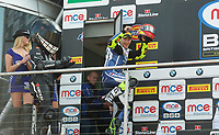 Christian Iddon of Tyco BMW Motorrad after race two of the MCE British Superbikes in Association with Pirelli shows his delight on the podium after finishing second in round 12 2017 - BRANDS HATCH (GP) at Brands Hatch, Longfield, England on 15 October 2017. Photo by Alan  Stanford / PRiME Media Images.