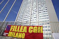 - Milan, presidium of FILLEA CGIL labor union in front of Lombardy Region Authority headquarters for raising of investment in building industry<br /> <br /> - Milano, presidio del sindacato FILLEA CGIL davanti alla sede della Regione Lombardia per il rilancio degli investimenti nel settore edilizio
