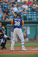 Nick Martini (38) of the Las Vegas Aviators at bat against the Salt Lake Bees at Smith's Ballpark on July 20, 2019 in Salt Lake City, Utah. The Aviators defeated the Bees 8-5. (Stephen Smith/Four Seam Images)