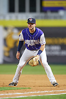 Binghamton Rumble Ponies first baseman Kevin Taylor (9) during a game against the Akron RubberDucks on May 12, 2017 at NYSEG Stadium in Binghamton, New York.  Akron defeated Binghamton 5-1.  (Mike Janes/Four Seam Images)