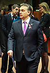 Hungarian Prime Minister Viktor Orban  attending the second day of a EU summit at the European Council headquarters in Brussels, Belgium on 15.03.2013 French President Francois Hollande called on the European Union to lift an arms embargo running until May that has prevented the shipment of weapons to rebels in war-torn Syria, at talks on 14 March with his EU counterparts. Britain also has spoken in favour of providing more unequivocal support to the Syrian opposition, whereas German Chancellor Angela Merkel called for caution. The issue was added at the last minute to the leaders' agenda for 15 March. by Delmi Alvarez