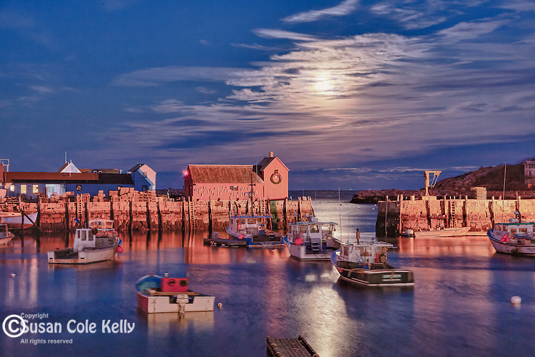 Moonrise over the Motif #1 fishing shack in Rockport, MA, USA