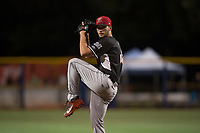 Salem-Keizer Volcanoes relief pitcher Alex DuBord (49) delivers a pitch during a Northwest League game against the Hillsboro Hops at Ron Tonkin Field on September 1, 2018 in Hillsboro, Oregon. The Salem-Keizer Volcanoes defeated the Hillsboro Hops by a score of 3-1. (Zachary Lucy/Four Seam Images)