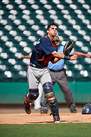 Atlanta Braves catcher Ray Soderman (72) throws to first base during a Florida Instructional League game against the Canadian Junior National Team on October 9, 2018 at the ESPN Wide World of Sports Complex in Orlando, Florida.  (Mike Janes/Four Seam Images)