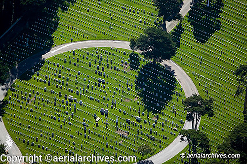 aerial photograph of the National Cemetery San Francisco Presidio California