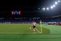 YOKOHAMA, JAPAN - JULY 30: Tobin Heath #7 of the USWNT takes a corner kick during a game between Netherlands and USWNT at International Stadium Yokohama on July 30, 2021 in Yokohama, Japan.