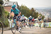 Hugo Houle (CAN/Astana-Premier Tech) up the infamous Mur de Huy<br /> <br /> 85th La Flèche Wallonne 2021 (1.UWT)<br /> 1 day race from Charleroi to the Mur de Huy (BEL): 194km<br /> <br /> ©kramon