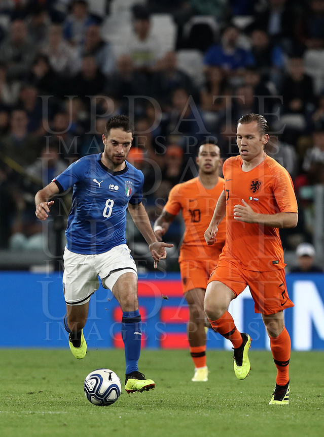 International friendly football match Italy vs The Netherlands, Allianz Stadium, Turin, Italy, June 4, 2018. <br /> Italy's Giacomo Bonaventura (l) in action with Netherlands' Ruud Vormer (r) during the international friendly football match between Italy and The Netherlands at the Allianz Stadium in Turin on June 4, 2018.<br /> UPDATE IMAGES PRESS/Isabella Bonotto