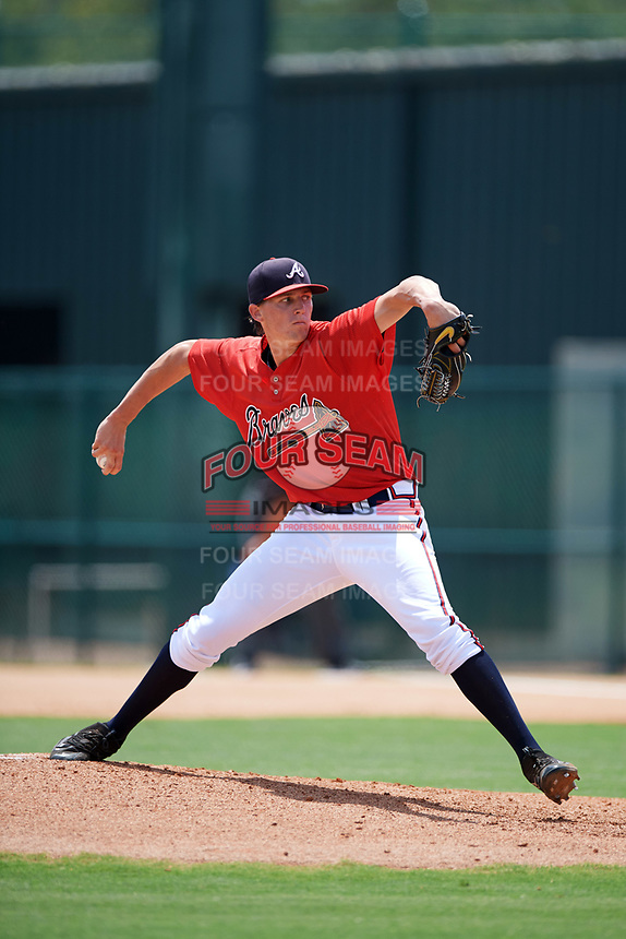 GCL Braves starting pitcher Kyle Wright (40) delivers a pitch during a game against the GCL Pirates on July 27, 2017 at ESPN Wide World of Sports Complex in Kissimmee, Florida.  GCL Braves defeated the GCL Pirates 8-6.  (Mike Janes/Four Seam Images)