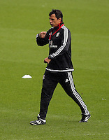CARDIFF, WALES - SEPTEMBER 05: Manager Chris Coleman walks on the pitch during the Wales training session, ahead of the UEFA Euro 2016 qualifier against Israel, at the Cardiff City Stadium on September 5, 2015 in Cardiff, Wales.