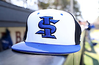 ELON, NC - MARCH 1: An Indiana State baseball hat during a game between Indiana State and Elon at Walter C. Latham Park on March 1, 2020 in Elon, North Carolina.