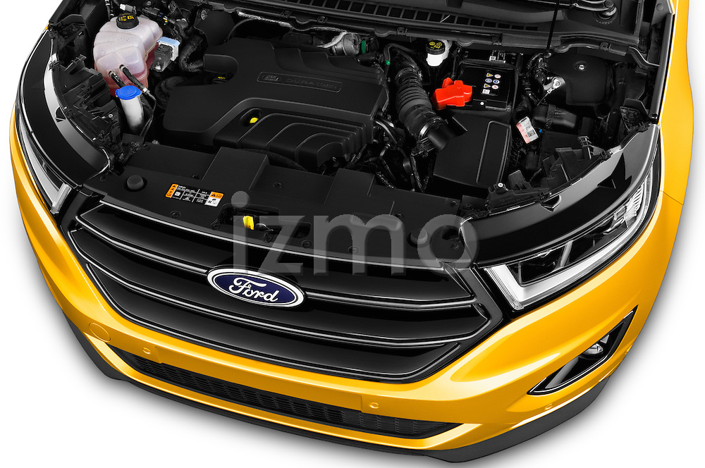 Car Stock 2017 Ford Edge Sport-4wd 5 Door Suv Engine  high angle detail view