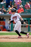 Indianapolis Indians Jake Elmore (13) at bat during an International League game against the Syracuse Mets on July 17, 2019 at Victory Field in Indianapolis, Indiana.  Syracuse defeated Indianapolis 15-5  (Mike Janes/Four Seam Images)