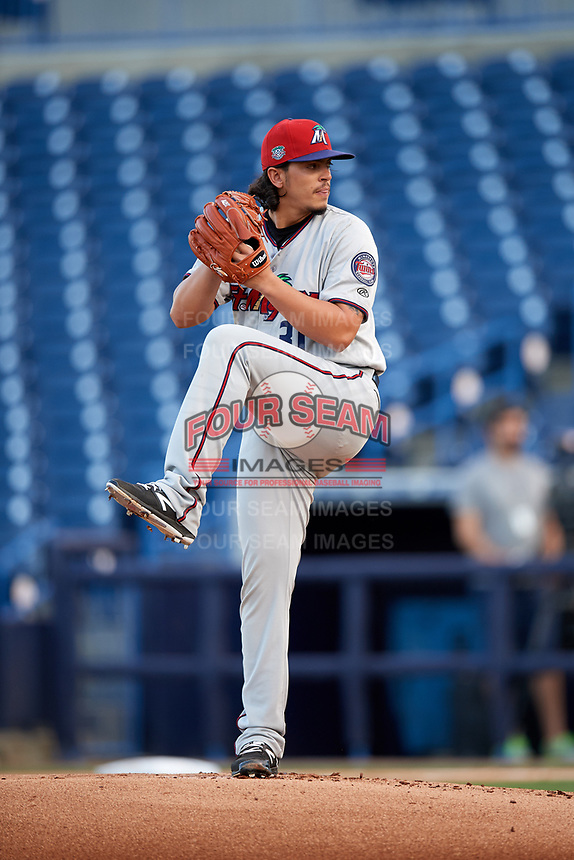 Fort Myers Miracle starting pitcher Dereck Rodriguez (31) delivers a pitch during a game against the Tampa Yankees on April 12, 2017 at George M. Steinbrenner Field in Tampa, Florida.  Tampa defeated Fort Myers 3-2.  (Mike Janes/Four Seam Images)