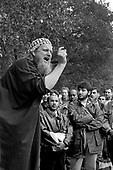A Muslim preacher addresses a crowd at Speakers Corner, Hyde Park, London