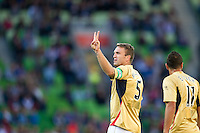 MELBOURNE, AUSTRALIA - DECEMBER 27:Ljubo Milicevic of the Jets gestures to the crowd during the round 20 A-League match between the Melbourne Victory and the Newcastle Jets at AAMI Park on December 27, 2010 in Melbourne, Australia. (Photo by Sydney Low / Asterisk Images)