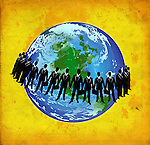 Conceptual shot of businessmen standing around globe representing global business
