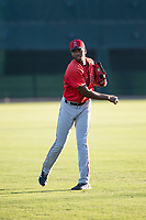 AZL Angels outfielder Trent Deveaux (17) warms up before an Arizona League game against the AZL Giants Black at the San Francisco Giants Training Complex on July 1, 2018 in Scottsdale, Arizona. The AZL Giants Black defeated the AZL Angels by a score of 4-2. (Zachary Lucy/Four Seam Images)