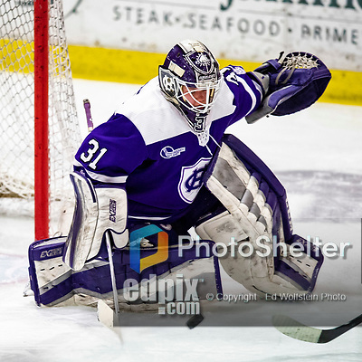 2 February 2020: Holy CrossCrusader Goaltender Jada Brenon, a Sophomore from Pendleton, NY, makes an Overtime save against the University of Vermont Catamounts at Gutterson Fieldhouse in Burlington, Vermont. Brenon made 51 saves in the game, keeping the Crusaders in the lead for almost the entire game. However, the Lady Cats rallied in the 3rd period to tie the Crusaders 2-2 in NCAA Women's Hockey East play. Mandatory Credit: Ed Wolfstein Photo *** RAW (NEF) Image File Available ***