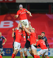 10th October 2020; Thomond Park, Limerick, Munster, Ireland; Guinness Pro 14 Rugby, Munster versus Edinburgh; Fineen Wycherley of Munster collects the line out ball