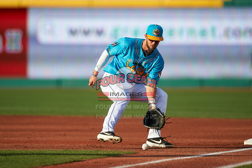 Lansing Lugnuts first baseman Jake Brodt (30) fields a ground ball during a Midwest League game against the Beloit Snappers at Cooley Law School Stadium on May 4, 2019 in Lansing, Michigan. The Lugnuts wore their Copa de la Diversión jerseys, becoming the Lansing Locos for the evening. Beloit defeated Lansing 2-1. (Zachary Lucy/Four Seam Images)