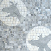 Creatures of the Night, a hand-cut and waterjet stone mosaic, shown in honed Allure and Afyon White, is part of the Kiddo™ Collection by Cean Irminger for New Ravenna.