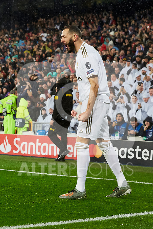 Karim Benzema of Real Madrid celebrates goal during UEFA Champions League match between Real Madrid and Paris Saint-Germain FC at Santiago Bernabeu Stadium in Madrid, Spain. November 26, 2019. (ALTERPHOTOS/A. Perez Meca)