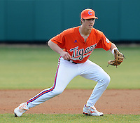 Infielder Steve Wilkerson (17) of the Clemson Tigers in a game against the Eastern Michigan Eagles on Friday, Feb. 18, 2011, at Doug Kingsmore Stadium in Clemson, S.C. Photo by Tom Priddy / Four Seam Images